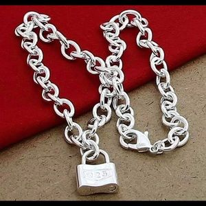 Square Lock Pendant Necklaces Chain For Jewelry